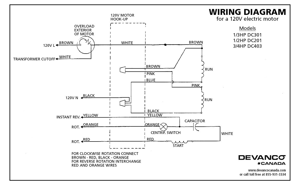 120v 230v Wiring Data Single Phase Receptacle 27021 Doorlec Electric Motor Tefc 12hp 115230v Dc201 Rh Devancocanada Com 1 Outlet Diagram