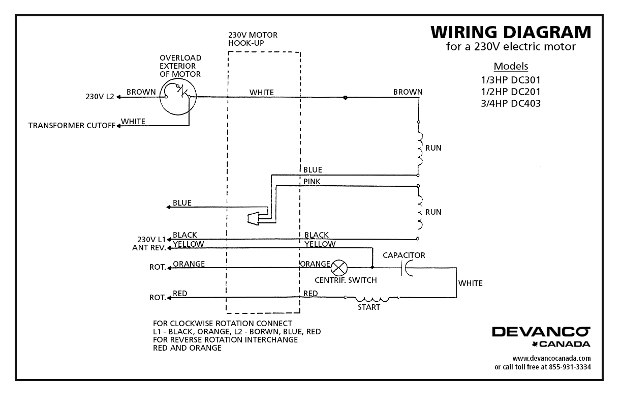 230v Wiring 27021 Doorlec Electric Motor Tefc 12hp 115230v Dc201 Diagram For 120v